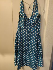 Pettycoat Kleid mit Unterrock Gr. 36/38 Blau und Weiß gepunktet (wie neu)