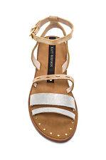 NIB Matt Bernson Isle Gladiator Flat Metallic Leather Strappy Ankle Sandals SZ 6