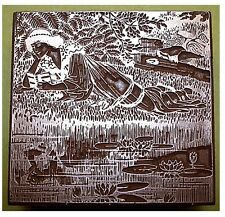 """""""ART NOUVEAU LADY READING BY A STREAM"""" PRINTING BLOCK."""