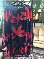 Loft Women's Size L Black/Gray/Red/Pink long-sleeve shift dress w ruffle hem