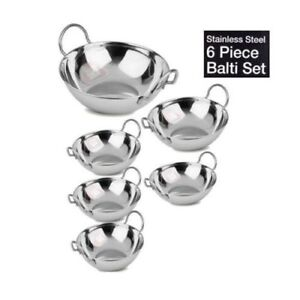 New 6 pcs Stainless Steel Indian Curry Bowl Balti Serving Dish Karahi Set 17cm