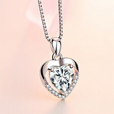 925 Sterling Silver Crystal Heart Stone Pendant Chain Necklace Womens Jewellery
