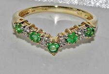 Beautiful 9 CT Oro Giallo Smeraldo & Diamante Eternity Anello Wishbone-Taglia P