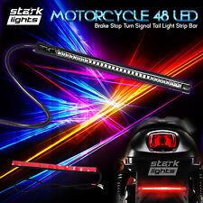 "8"" Motorcycle 48 LED Integrated Brake Stop Turn Signal Tail Light Strip Bar x1"