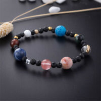 Natural Stone Beads DIY Galaxy Solar System Eight Planets Theme Weave Bracelet F