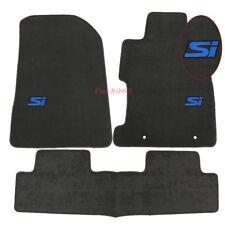 Fits 06-11 Honda Civic 2Dr 4Dr Grey Nylon Floor Mat Carpets Front Rear + Blue SI