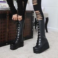 Women Wedge High Heel Mid Calf  Platform Goth Punk Lace Up Boots Round Toe Shoes