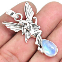 4.48cts Natural Rainbow Moonstone 925 Silver Angel Wings Fairy Pendant P44575