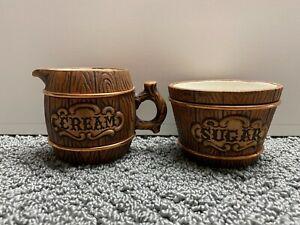 Vintage Ceramic Creamer & Sugar Bowl Wood Grain Barrel Design