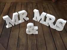 NEW WEDDING GIFT WHITE WOOD MR & MRS LETTERS MR & MRS SIGN MR AND MRS LETTERS