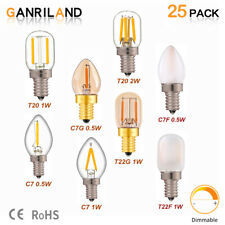 T20 T22 C7 Refrigerator LED Filament Bulb,1W 2W,E12 E14 Base,Dimmable,25Pack