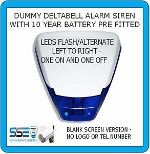 Dummy Alarm-Siren Deltabell -Twin Flash Blue LEDs 10yr Batt Fitted - BLANK COVER