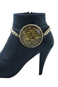 Femme Métal Or Chaîne Coffre Bracelet Chaussure Zèbre Imprimé Charm Capuche Mode