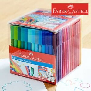 FABER CASTELL 48 PACK Connector Pens Kids Texters Colouring Drawing Art School