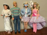 Mattel Barbie Doll Lot of Four 1980s and 1990s. Unboxed. Original Clothes. Used.