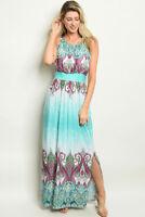 Misses Mint Paisley Print Maxi Dress Size Large New Side Slit