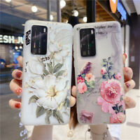 For Huawei P40 P30 Pro P20 Lite Slim Soft Silicone Flower Painted TPU Cover Case