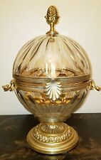 GORGEOUS AUTHENTIC MARTIN BENITO CRYSTAL MOUNTED DECANTER FRANCE SIGNED GOLD