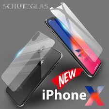 iPhone X - Panzer Glasfolie Vorne + Hinten Schutz Glas Komplettschutz 9H Glas