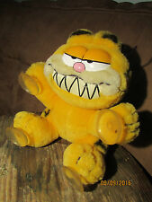 "GARFIELD Cat Vintage 1981 Plush W Tag  ""MAKE MY DAY"" Button 4 Suction-Cup Limbs"