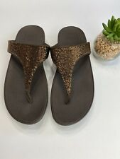 FitFlop Electra Micro-Sequin Wedge Toe Post Sandals Women's Size 9 Bronze