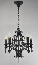 Antique Five Arm Gothic Style Wrought Iron Chandelier