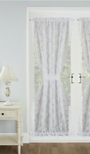 """Kew White Lace Floral Door Curtain 43""""x72"""",Tie-Back Included"""