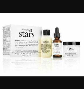 NEW BOXED PHILOSOPHY ALL STARS KIT PURITY CLEANSER HOPE IN A JAR SERUM 1 2 OZ