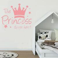 "Pink ""The Princess sleeps here"" Wall Sticker Decal Mural Baby Girl Room Decor"