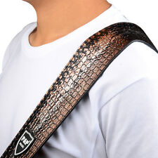 Alligator Grain PU Leather Guitar Strap for Electric Bass Acoustic Guitar