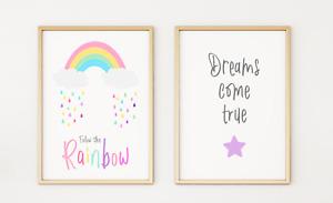 Rainbow Boys Girls Kids Nursery Playroom Poster Print Picture A4 x 2 PR56