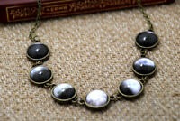 Moon phase necklace Lunar Phases Jewelry Glass Dome Statement Necklace
