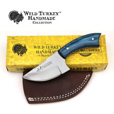 Wild Turkey Handmade Real Wood Handle Fixed Blade Skinner Knife w/Leather Sheath
