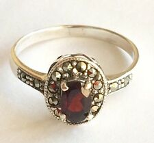 100% Genuine Real Solid 925 Sterling Silver Natural Garnet Marcasite Ring Size 7