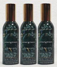 3 Bath & Body Works EVERGREEN Mini Room Spray Perfume 1.5 oz ea