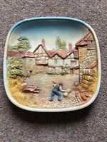 Legend chalkware vintage plaque 1970s Wall Plate Farmer Hay Stacking Farmhouse
