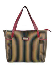 RED LEATHER TRIM LARGE CANVAS TOTE SIDE POCKETS STRIPED