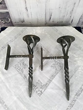 Set of 2 Forged Steel Wall Candle Sconces Old World Viking Medieval 14 1/2""