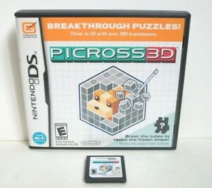 Picross 3D (Nintendo DS) Game & Case Good Condition Brain Logic Puzzles