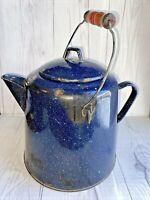 Vintage Enamelware Speckled Blue Large Cowboy Coffee Pot Vintage Charm