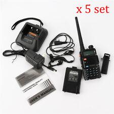 5 Set UV-5R Two-way Radio Walkie Talkie Dual Band 136-174/400-520MHz W/ Earphone