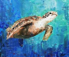 AMY's Oil Painting Art Knife decoration sea turtle animal 50x40cm on wood frame