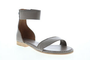Frye Carson Ankle Zip 72114 Womens Gray Leather Zipper Strap Sandals Shoes