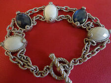 Judith Ripka Sterling Diamonique Multi-Gemstone Toggle Bracelet $490 Large WOW