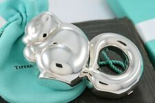 RARE Tiffany & Co. Silver Squirrel Eating A Nut Baby Rattle Teether BOXED