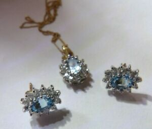 9 CARAT BLUE & WHITE TOPAZ FLOWERHEAD  CLUSTER NECKLACE & EARRINGS SET ZL297