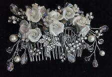 Bridesmaid Bridal Wedding Silver Austrian Crystal White Rose Hair Comb
