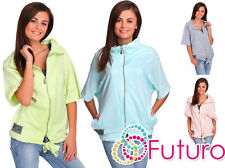 Ladies Casual Sweatshirt With Zip Short Sleeve Tracksuit Blouse Size 8-12 FT1914