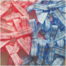 10mm Handmade Baby Pinks & Blues Gingham Ribbon Bows, Pkts of 10, 25, 50, 100