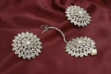 Indian Bollywood Silver Plated Pearl Maang Tikka & Earring Party Wedding Jewelry